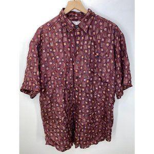 Bogari 100% Silk Short Sleeve Button-Down Shirt L